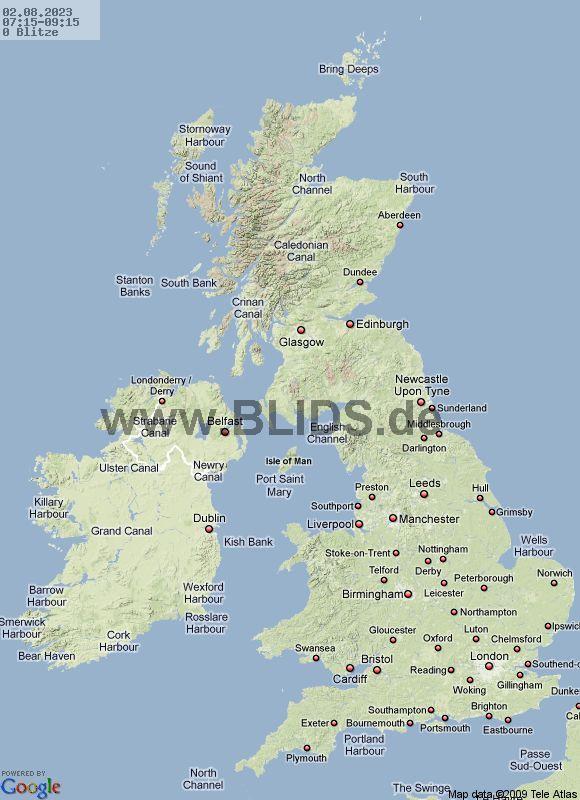 Onweer Groot Brittannie op Meteo Bleiswijk