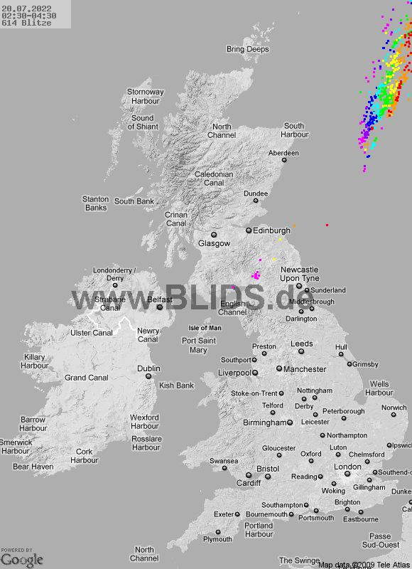 Aktuelle Gewitterlage Großbritannien