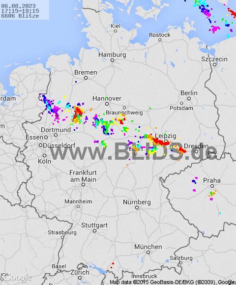 Aktuelle Gewitterlage Deutschland