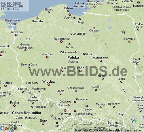 Mapa burz i wyładowań doziemnych dla Polski