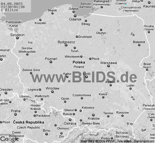 gdzie jest burza w Polsce, mapa wyładowań atmosferycznych